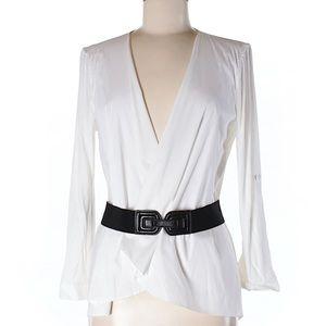 Sweaters - BCBG MaxArizia white wrap cardigan, M
